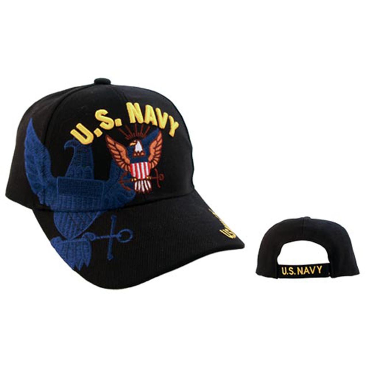 "Wholesale Military Caps C1019 (1 pc.) ""U.S. Navy"" Black"