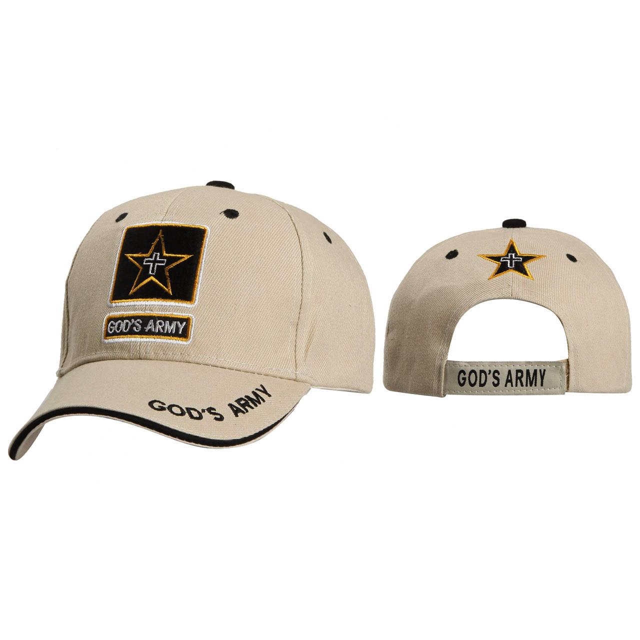 Christian Caps Wholesale C109 ~ God's Army ~ Beige