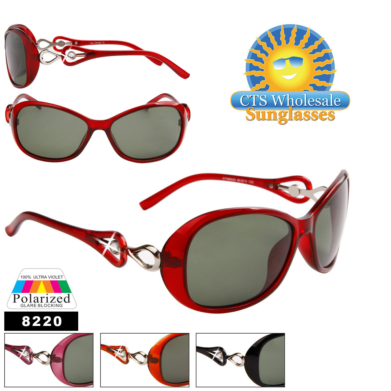 Bulk Women's Polarized Sunglasses - 8220 (12 pcs.) Assorted Colors