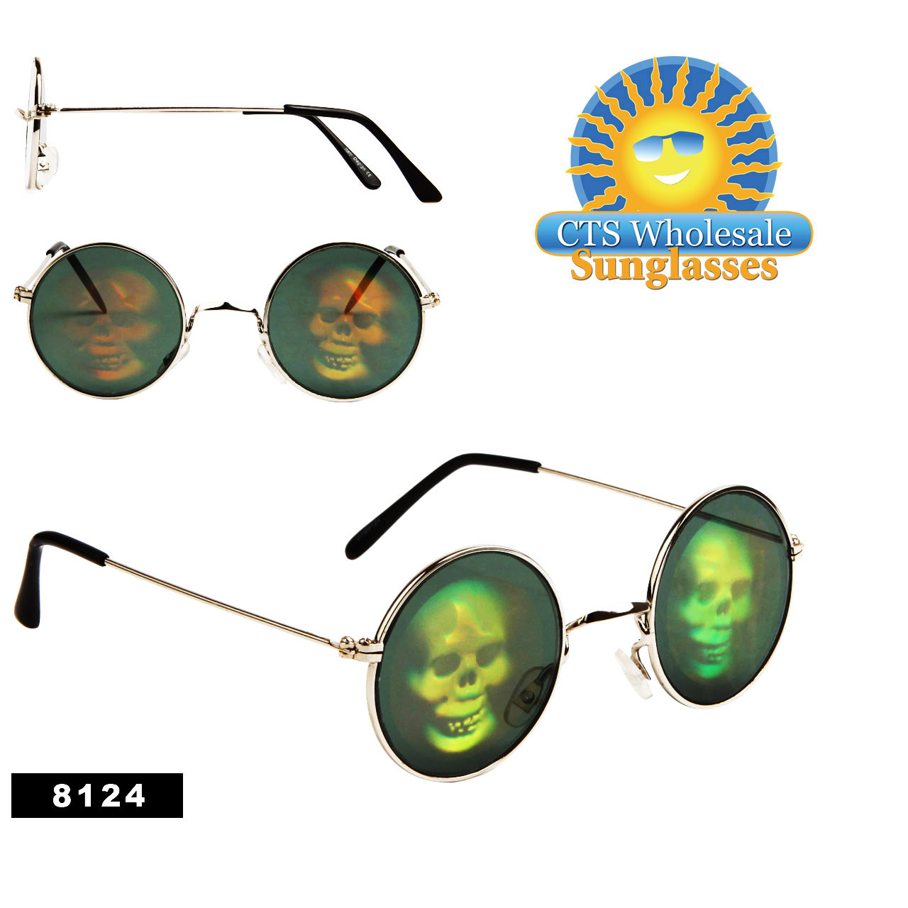 Skull Wholesale Hologram Sunglasses - 8124