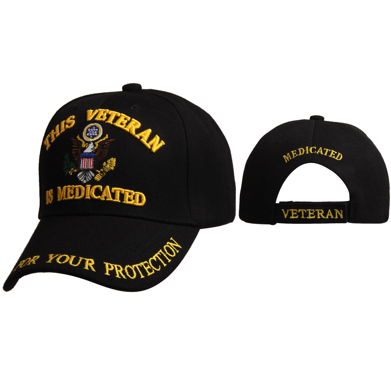"""Wholesale Cap C6002 (1 pc.) """"This Veteran is Medicated for Your Protection"""""""