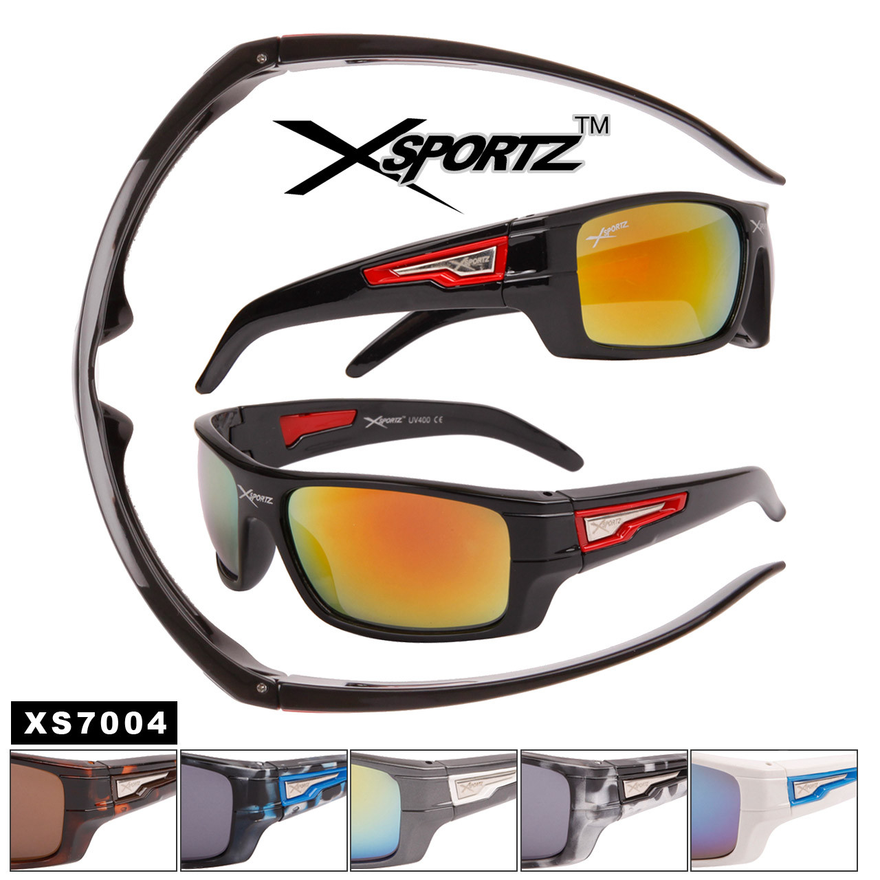 Xsportz™ Sport Sunglasses by the Dozen - Style # XS7004