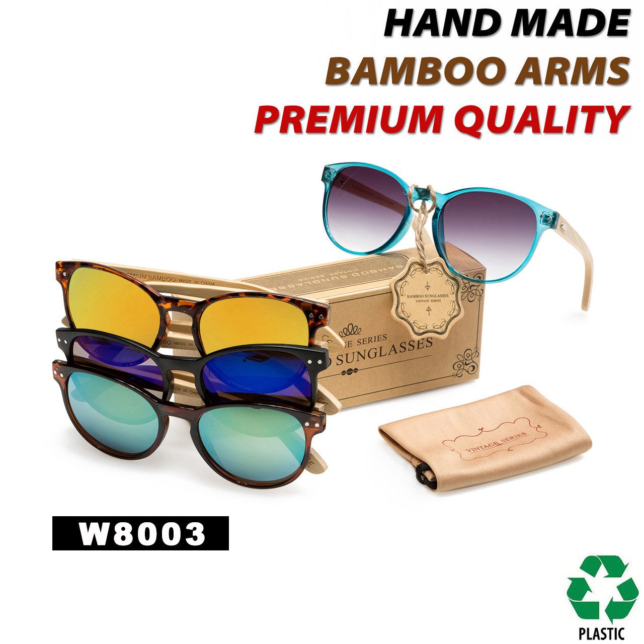 Women's Fashion Bamboo Wood Sunglasses - Style #W8003