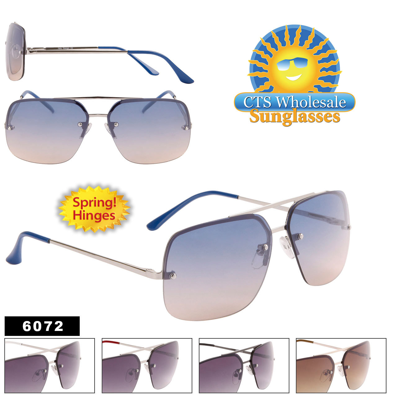 Mens Wholesale Sunglasses - Style #6072 Spring Hinge