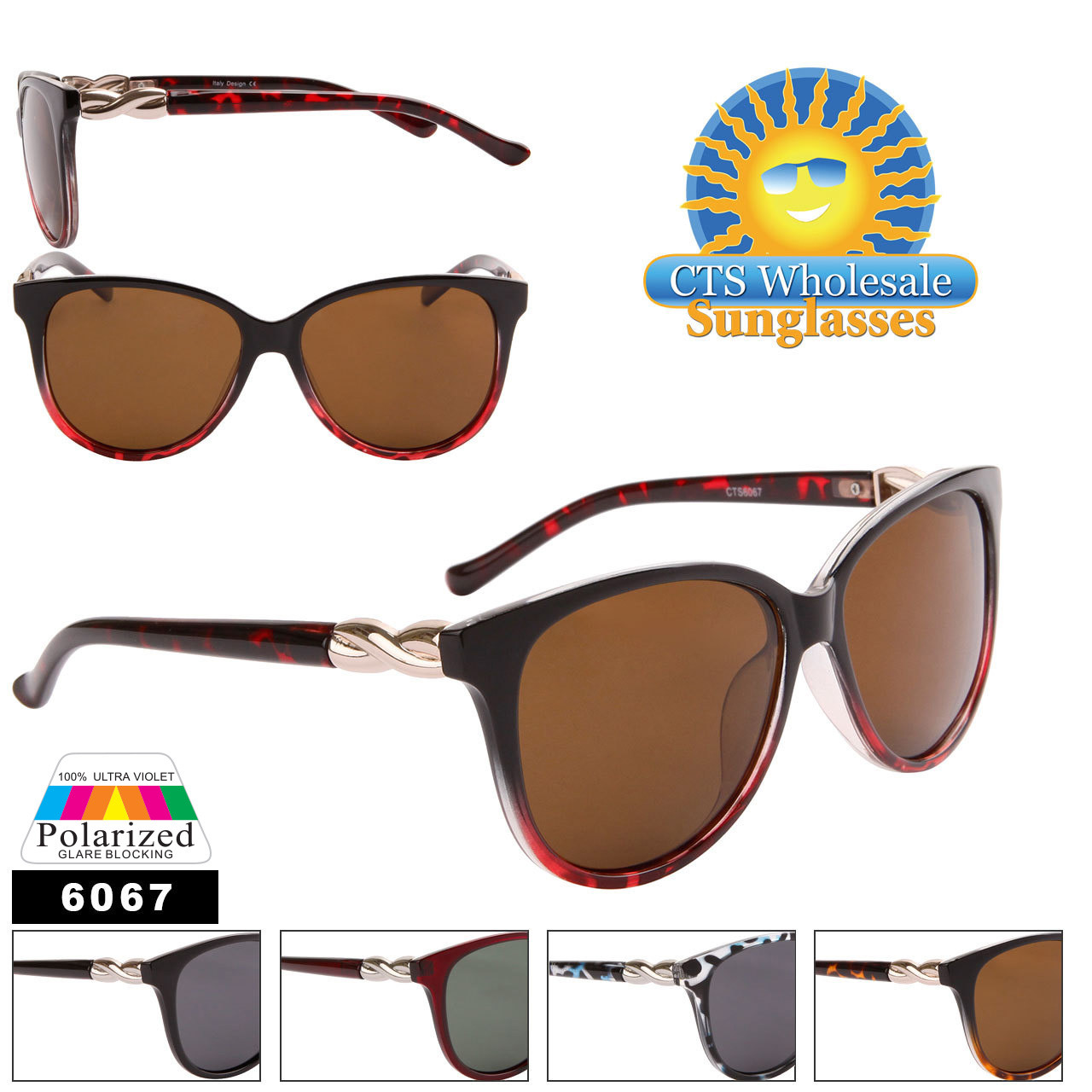 Women's Polarized Cat Eye Sunglasses Wholesale - 6067