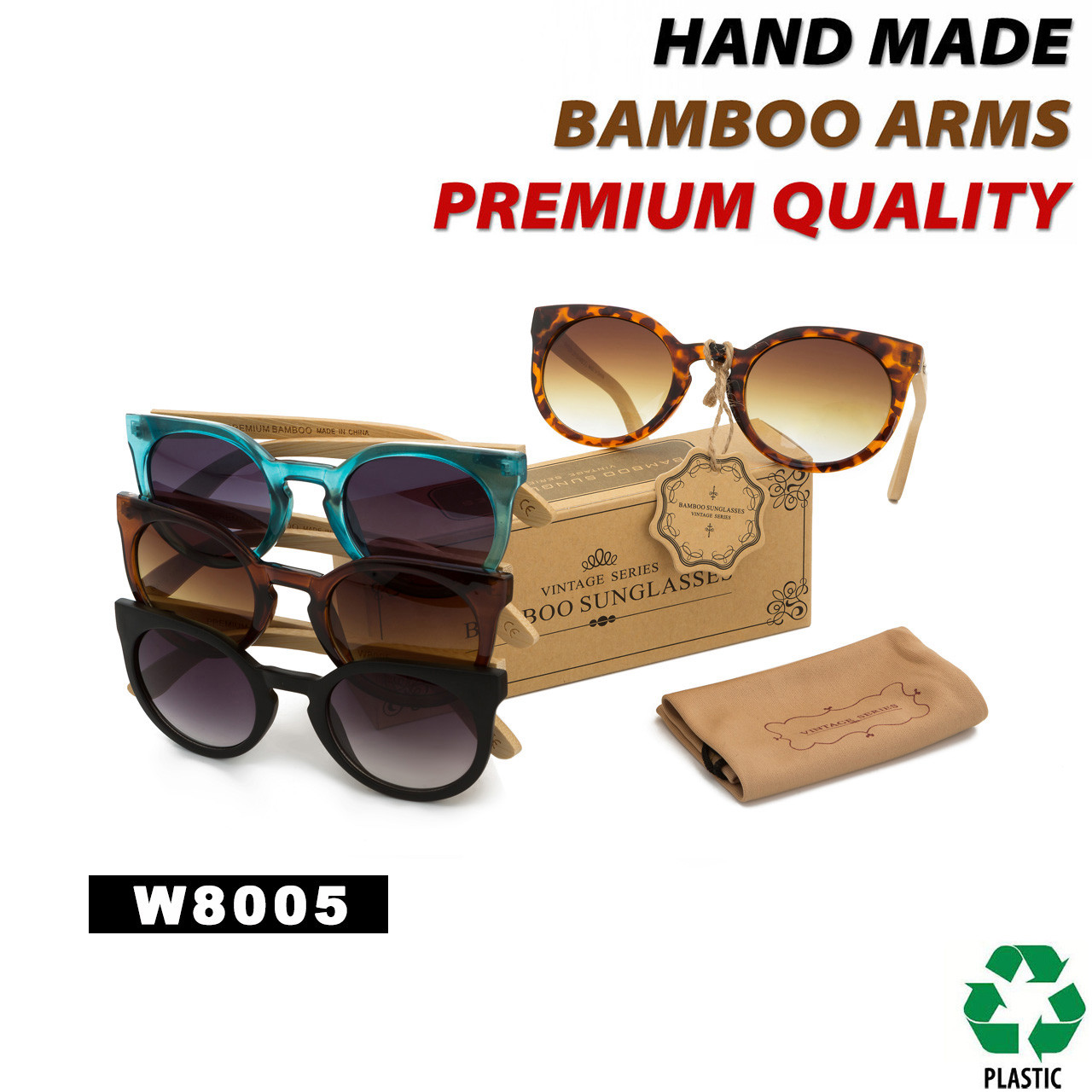 Bamboo Wood Vintage Sunglasses - Style #W8005