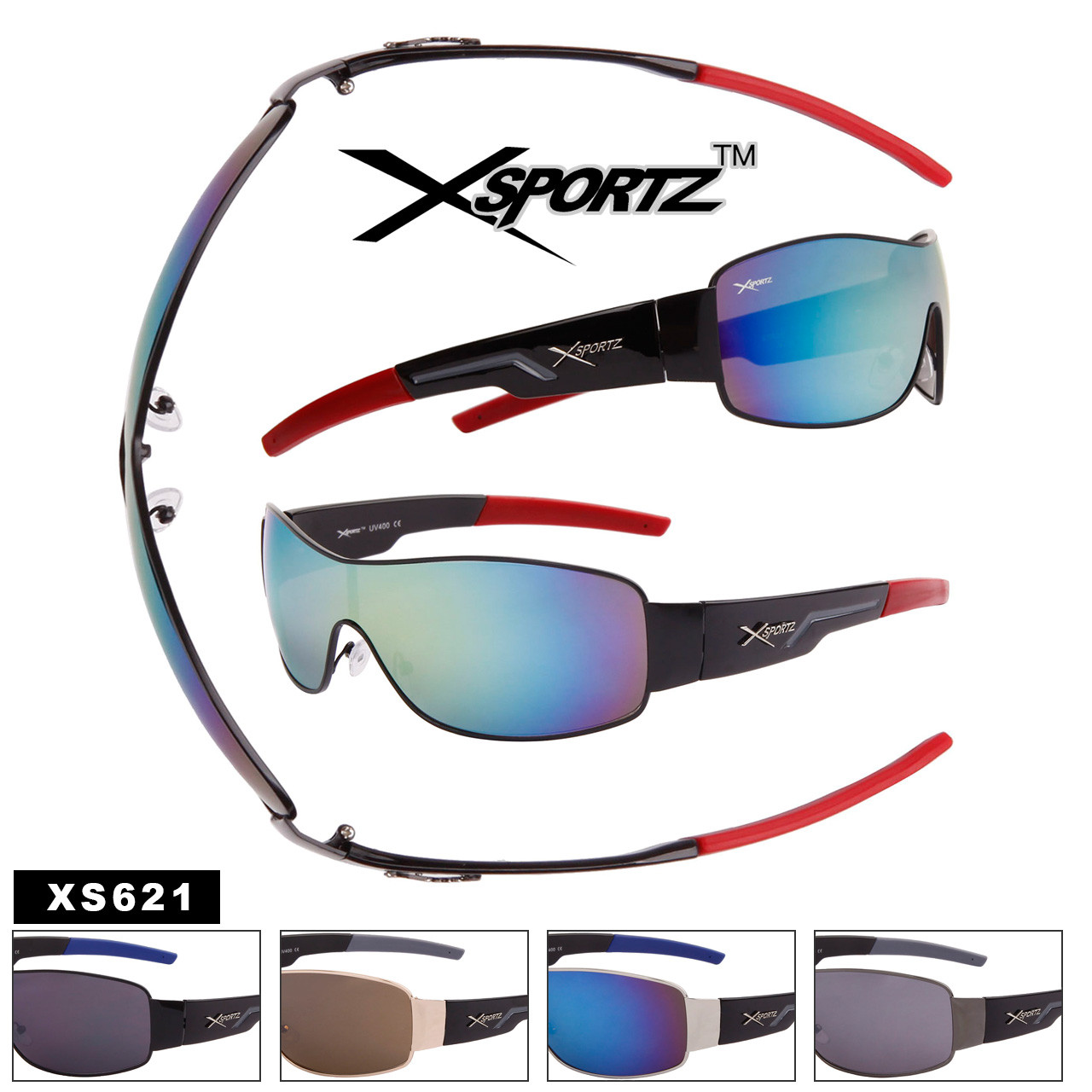 Xsportz™ Men's Single Piece Lens Sunglasses by the Dozen - Style #XS621