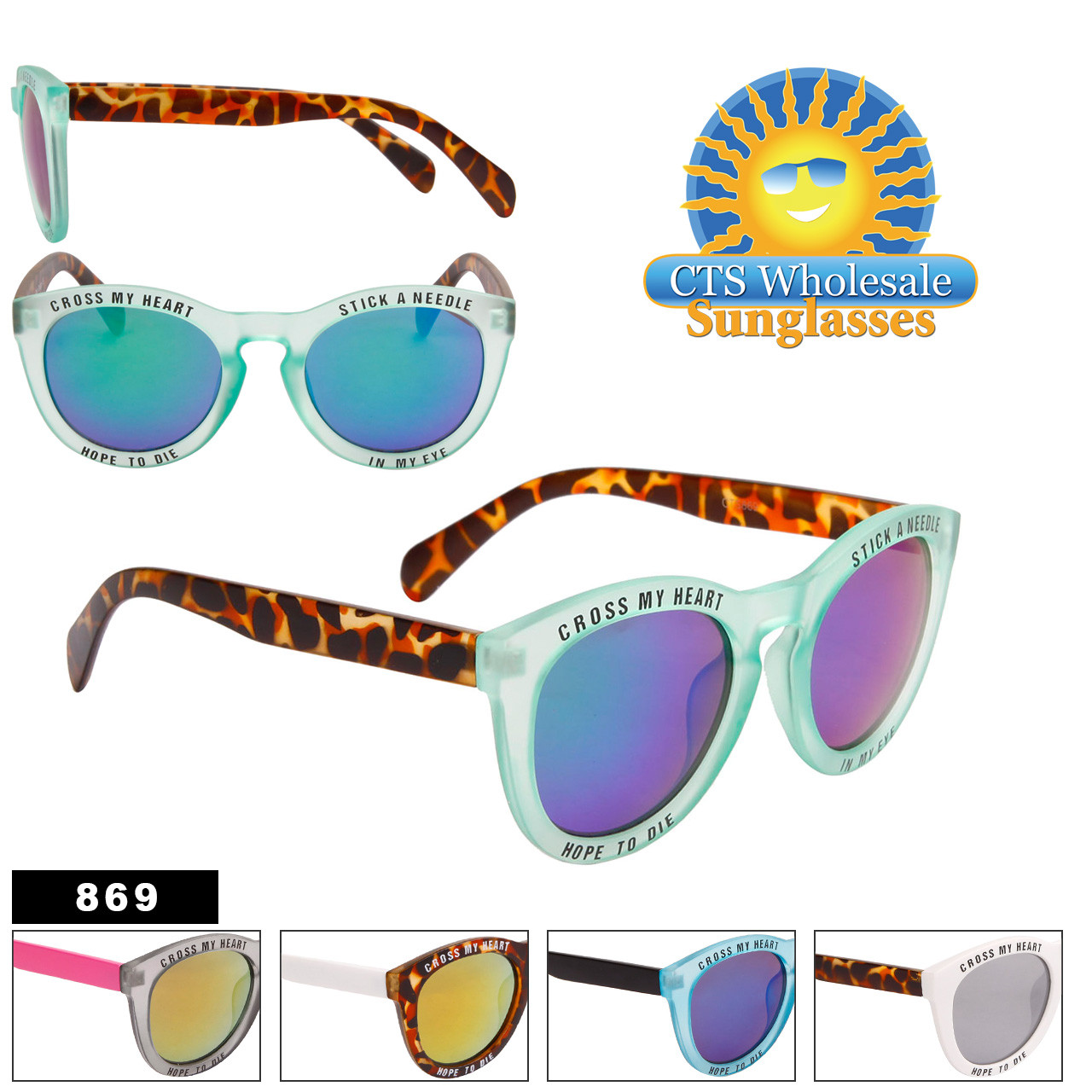"""Cross My Heart"" Fashion Sunglasses - Style #869"