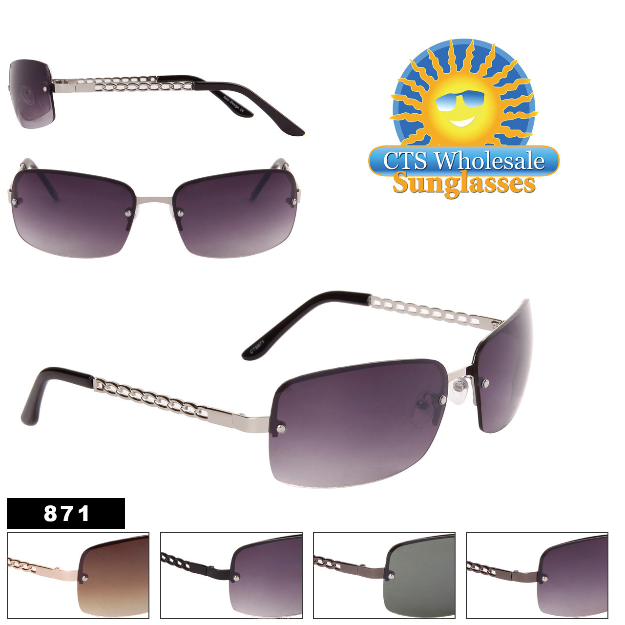 Rimless Fashion Sunglasses with Chain Temple - Style #871