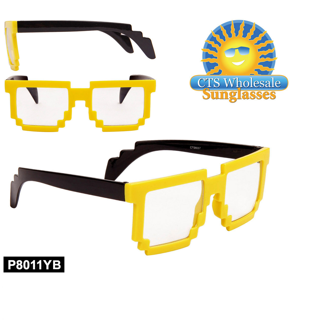 Yellow Pixelated Clear Sunglasses - Style #P8011YB