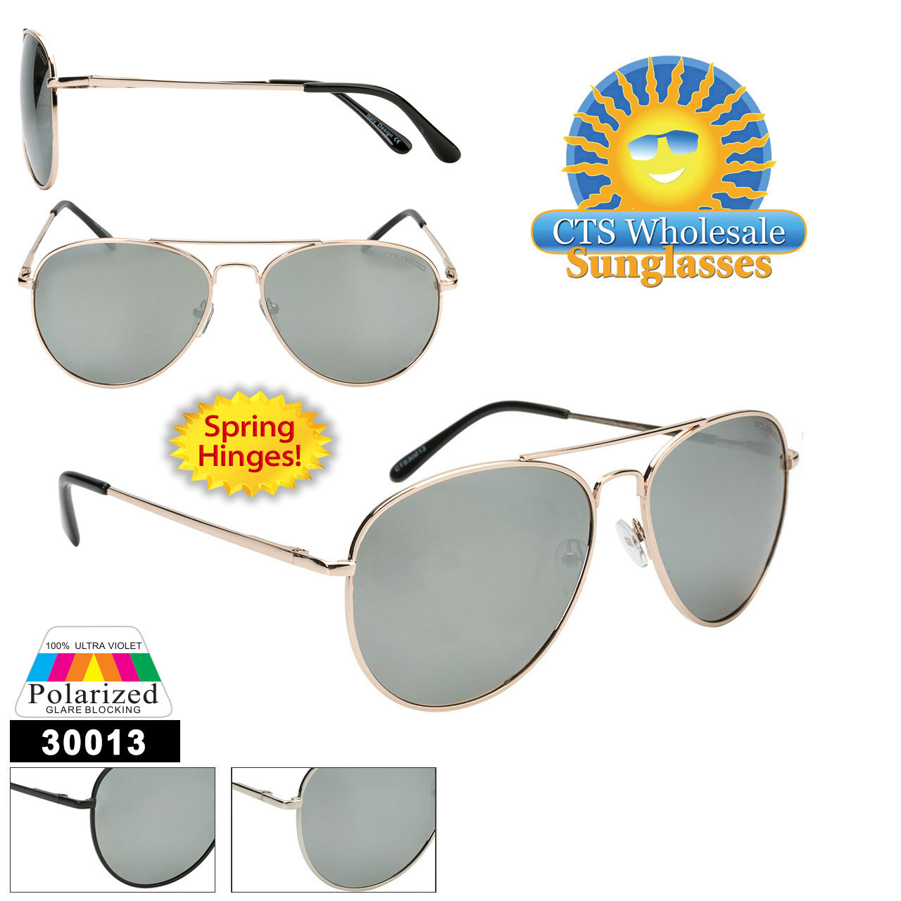 Polarized Mirrored Aviators  - Style #30013