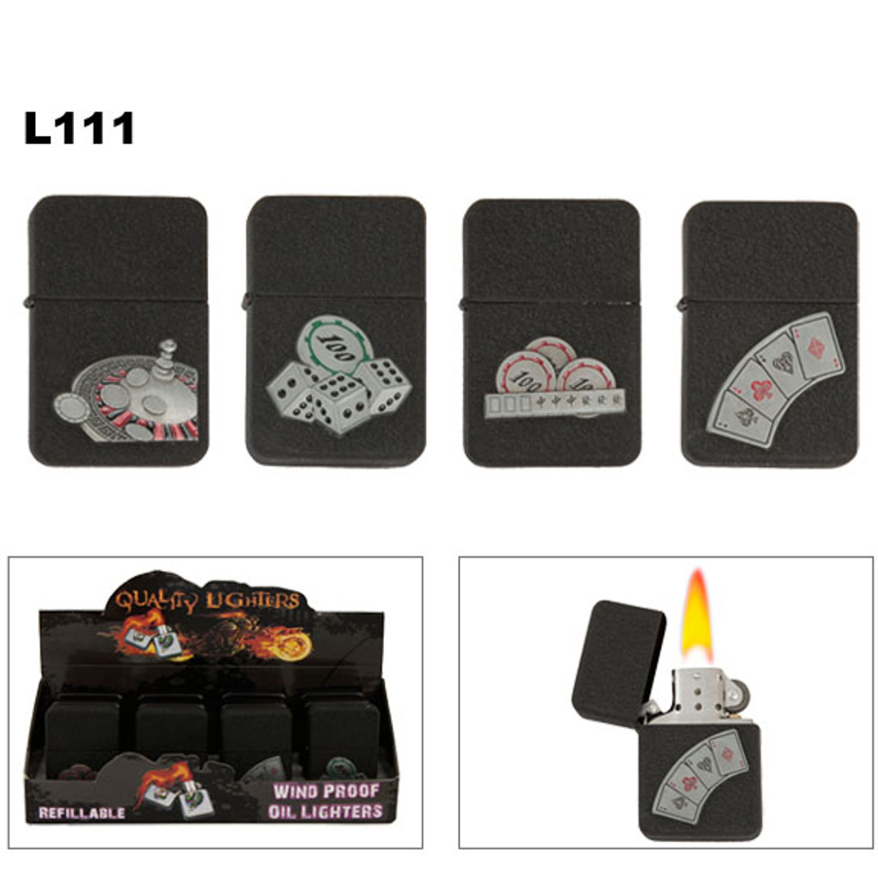 Wholesale Lighters with unique Black Speckle finish and casino inspired emblems.