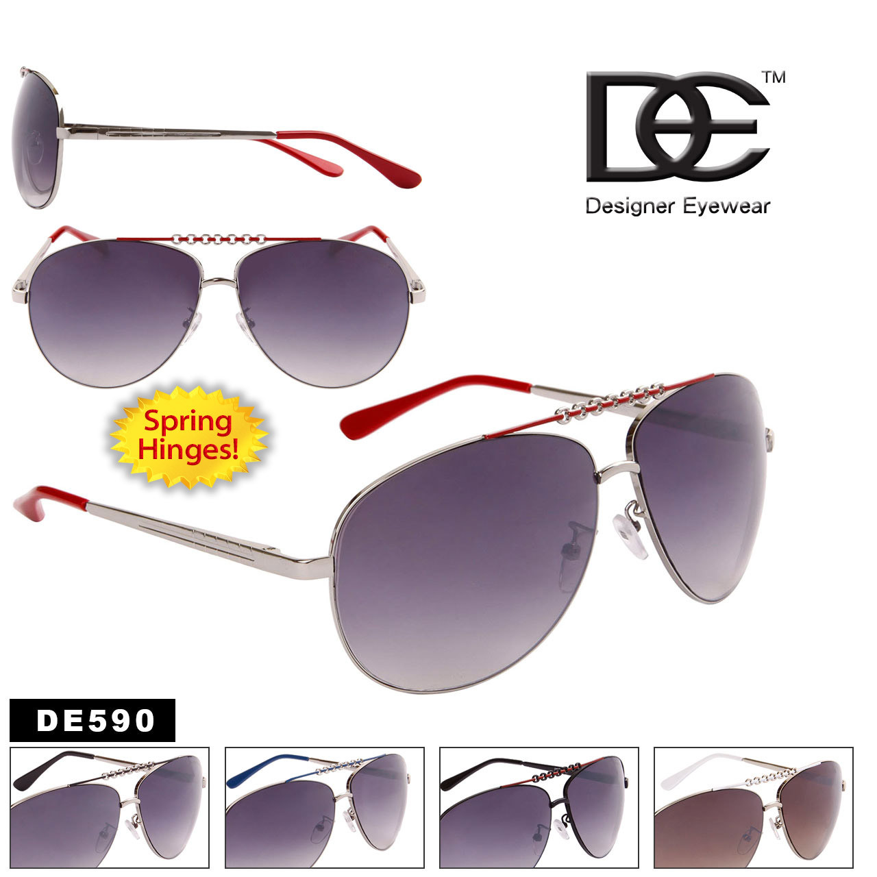 Metal Aviator Sunglasses DE590 Spring Hinge