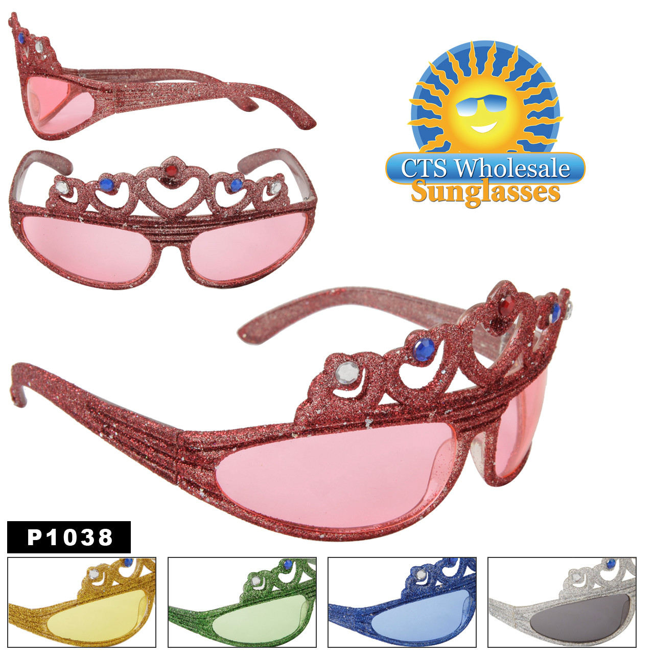 Tiara Sunglasses with Rhinestones and Glitter