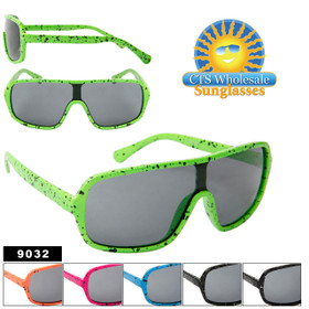 Wholesale Splatter Paint One Piece Lens Sunglasses 9032 (Assorted Colors) (12 pcs.)