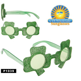 Party Glasses ~ Shamrock ~ P1039 (12 pcs.) (Assorted Colors)