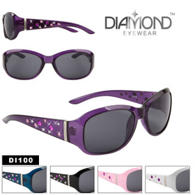 Diamond™ Eyewear Bulk Rhinestone Sunglasses - Style #DI100 (Assorted Colors) (12 pcs.)