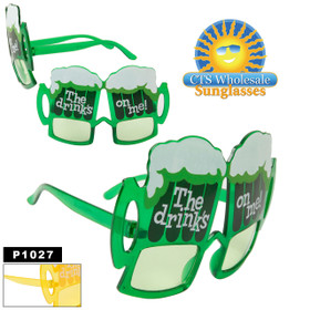 "Party Glasses ""The Drinks On Me!""  ~ P1027 (12 pcs.) Beer Mug Sunglasses (Assorted Colors)"