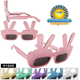 "Party Glasses ""Peace""  ~ P1020 (12 pcs.) ""Peace"" Hand Gesture Sunglasses (Assorted Colors)"