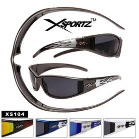 Xsportz Men's Sunglasses XS104 Sports Style Sunglasses (Assorted Colors) (12 pcs.)