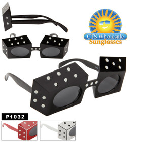 "Party Glasses ""Dice""  ~ P1032 (12 pcs.) (Assorted Colors)"