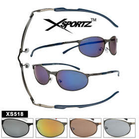 Bulk Sport Sunglasses - Style # XS518 Spring Hinge (Assorted Colors) (12 pcs.)