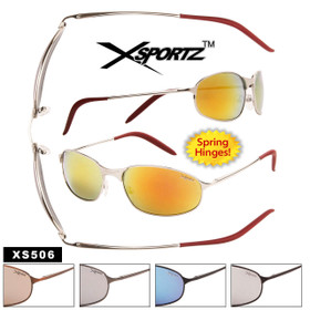 Wholesale Metal Sport Sunglasses - Style #XS506 Spring Hinge (Assorted Colors) (12 pcs.)