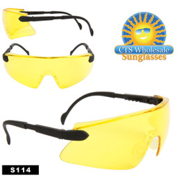 Safety Glasses ~ Driving Glasses  ~ Yellow Lens ~ S114 (12 pcs.) Adjustable Arms