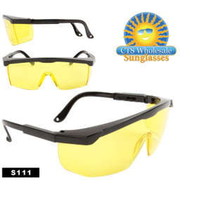 Safety Glasses ~ Driving Glasses  ~ Yellow Lens ~ S111 (12 pcs.) Adjustable Arms