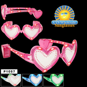 Flashing Sunglasses ~ Hearts ~ P1057 (Assorted Colors) (12 pcs.)