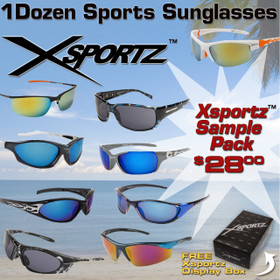 Sample Pack 12 Pair Assorted Xsportz Sunglasses SPA-XS (12 pcs.)