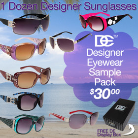 Sample Pack 12 Pair Assorted DE Designer Eyewear Sunglasses SPA-DE (12 pcs.)