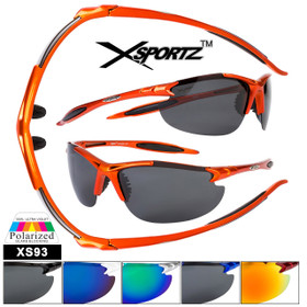 Polarized Xsportz™ Bulk Sunglasses - Style # XS93 (Assorted Colors) (12 pcs.)
