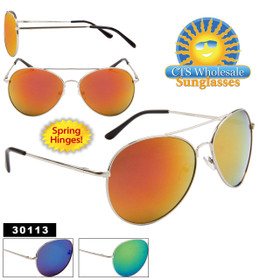 Mirrored Aviator Sunglasses Wholesale - Style #30113 Spring Hinge