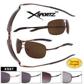 Xsportz™ Sunglasses Wholesale - Style #XS67 Spring Hinges (Assorted Colors) (12 pcs.)