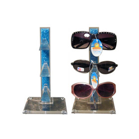 Acrylic Counter Top Sunglass Display Rack (holds 3 pair) Colored Stand | Clear Base 7042 (1 pc.)