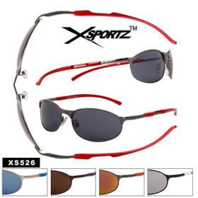 Bulk Men's Sports Sunglasses - Style #XS526 Spring Hinge (Assorted Colors) (12 pcs.)
