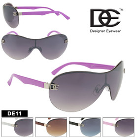 DE™ Designer Eyewear Sunglasses ~ Style #DE11 Single Piece Lens (Assorted Colors) (12 pcs.)