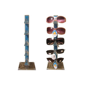 Acrylic Counter Top Sunglass Display Rack (holds 5 pair) Colored Stand | Clear Base 7041 (1 pc.)