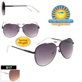 Bulk Metal Aviator Sunglasses - Style #817 | Spring Hinge! (Assorted Colors) (12 pcs.)