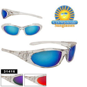 Bulk Sport Style Clear Frame Sunglasses - Style #31416 (Assorted Colors) (12 pcs.)