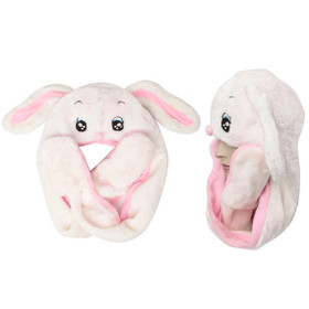 Wholesale White/Pink Bunny with Long Arms Animal Hat A115 (1 pc.)