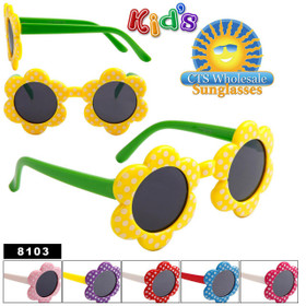 Girl's Sunglasses Wholesale Style # 8103 (Assorted Colors) (12 pcs.)