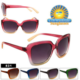 Women's Fashion Sunglasses Wholesale - Style # 831 (Assorted Colors) (12 pcs.)