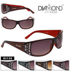 Diamond™ Eyewear Wholesale Rhinestone Sunglasses - Style # DI136 (Assorted Colors) (12 pcs.)
