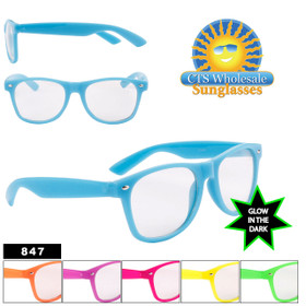 Glow in the Dark California Classics Sunglasses Wholesale - Style #847 Clear Lens! (Assorted Colors) (12 pcs.)