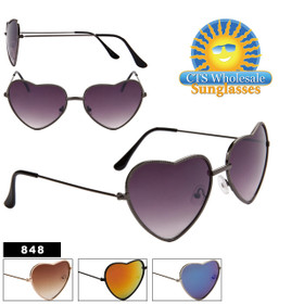 Heart Sunglasses - Style # 848 (Assorted Colors) (12 pcs.)
