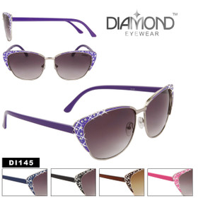 Wholesale Cat Eye Sunglasses with Rhinestones  - Style # DI145 (Assorted Colors) (12 pcs.)