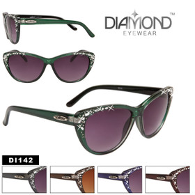 Wholesale Cat Eye Sunglasses - Style # DI142 Rhinestones! (Assorted Colors) (12 pcs.)
