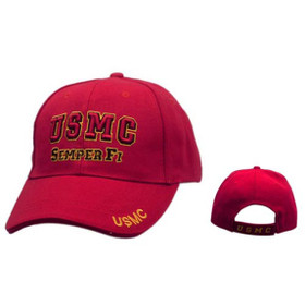 Wholesale Military Caps C129 (1 pc.) U.S.M.C. Semper Fi Red